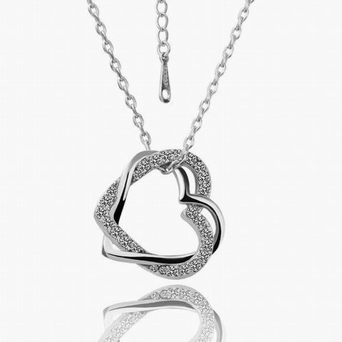 Swarovski Crystal Elements - Two Hearts Entwined Necklace - White Gold - Valentine's Day Gift Idea