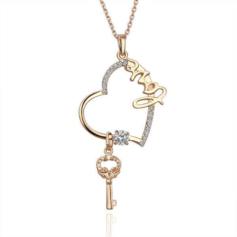 Swarovski Crystal Elements - Key to my Heart Necklace - Rose Gold - Valentine's Day Gift Idea