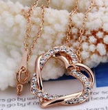 Swarovski Crystal Elements - Two Hearts Entwined Necklace - Rose Gold - Valentine's Day Gift Idea