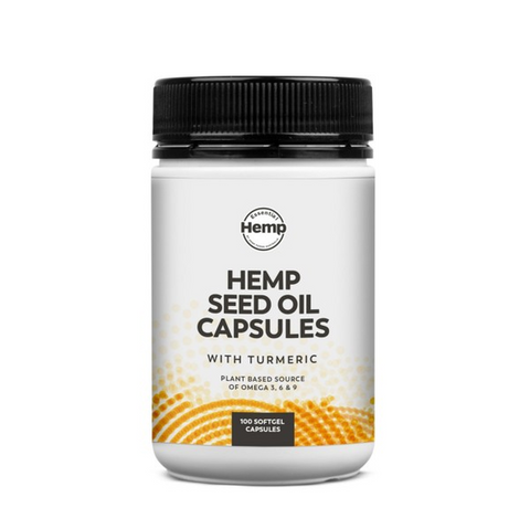 Hemp Seed Oil Capsules with Turmeric - Immune Support - 100 Soft Gel Capsules