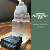 House Protection Set - Selenite and Black Tourmaline - Crystal Healing
