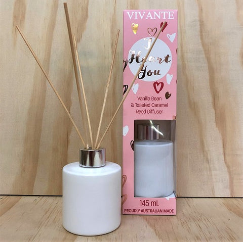 I HEART YOU Aromatherapy Reed Diffuser 145ml - Vanilla Bean and Toasted Caramel - Vivante - Gift Idea