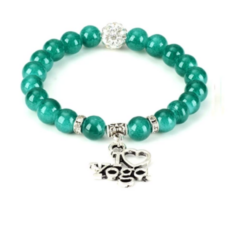 I Love Yoga Healing Gemstone Yoga Bracelet - with Swarovski Elements Crystals - Gift Idea