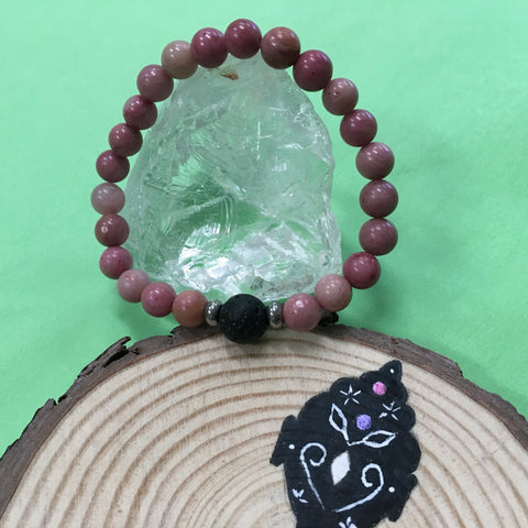 Kid's Rhodochrosite and Lava Stone Aroma Diffuser Bracelet - Compassion, Deep Love and Comfort - The Holistic Shop in Wagga Wagga