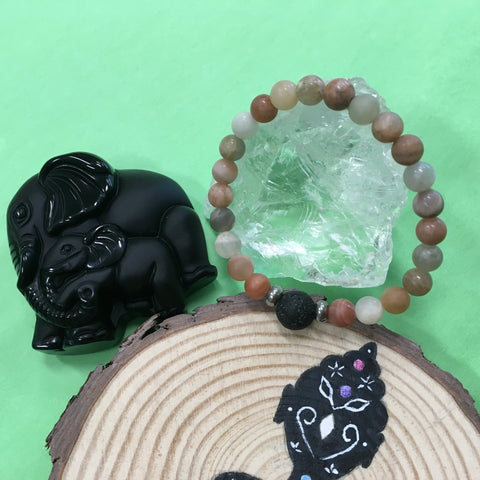 Kid's Multi Coloured Sunstone and Lava Stone Aroma Diffuser Bracelet - Joy, Vitality and Empowerment - The Holistic Shop in Wagga Wagga