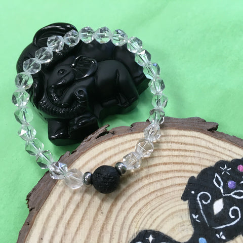 Kid's Clear Crystal Quartz and Lava Stone Aroma Diffuser Bracelet - Spiritual, Emotional and Physical Protection - The Holistic Shop in Wagga Wagga