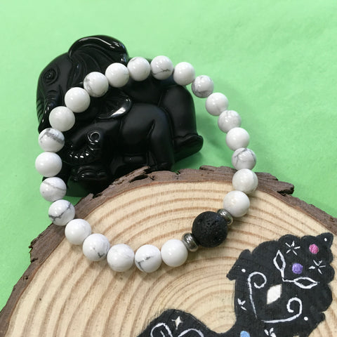 Kid's Howlite and Lava Stone Aroma Diffuser Bracelet - Calming, Awareness and Spiritual - The Holistic Shop in Wagga Wagga