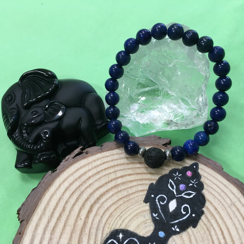 Kid's Lapis Lazuli and Lava Stone Aroma Diffuser Bracelet - Communication, Intuition and Inner Power - The Holistic Shop in Wagga Wagga