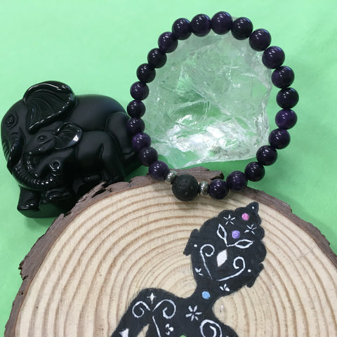 Kid's Charoite and Lava Stone Aroma Diffuser Bracelet - Transformation, Insight and Spirituality - The Holistic Shop in Wagga Wagga