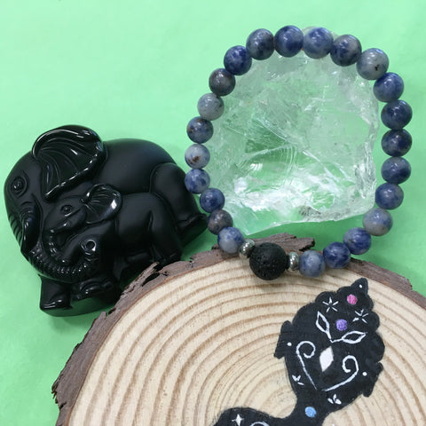 Kid's Sodalite and Lava Stone Aroma Diffuser Bracelet - Intuition, Focuses Energy and Guidance - The Holistic Shop in Wagga Wagga