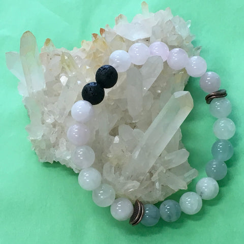 LOVE Aromatherapy Diffuser Bracelet - Rose Quartz, Morganite and Rainbow Moonstone - The Holistic Shop in Wagga Wagga