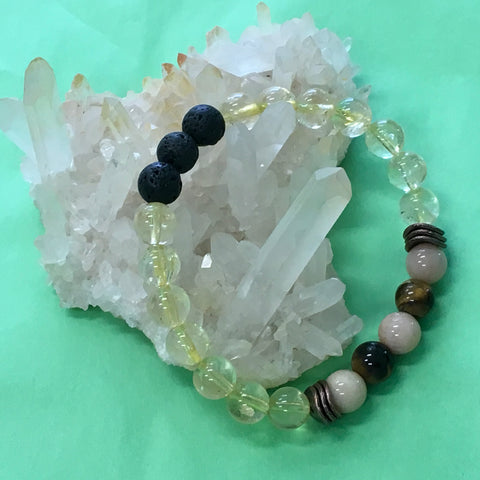 HAPPINESS Aromatherapy Diffuser Bracelet - Citrine, Tigers Eye and Sunstone - The Holistic Shop in Wagga Wagga