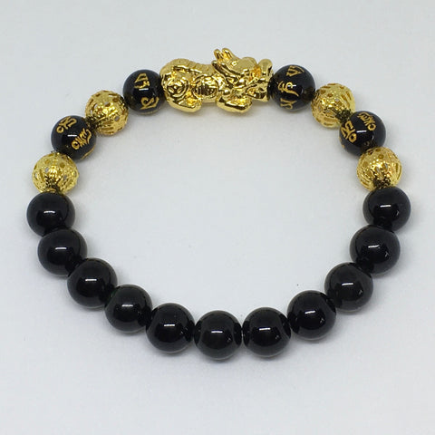 Unisex Pi Xiu and Black Obsidian Crystal Gemstone Bracelet 8mm - Feng Shui - Abundance and Protection - The Holistic Shop