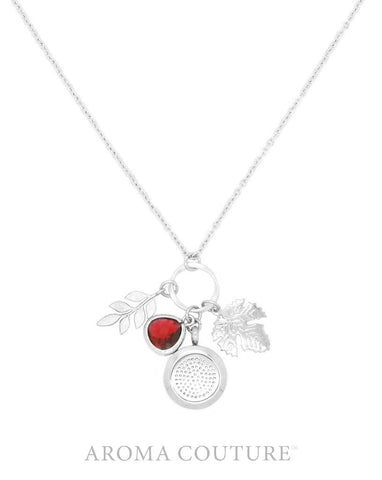 Garnet & Leaves Diffuser Necklace 76cm Chain - Aroma Couture