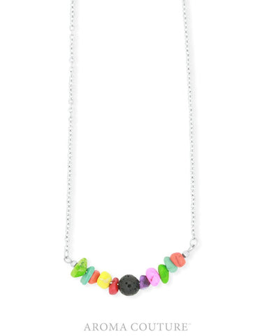 Kid's Rainbow & Lava Aroma Necklace 40cm by Aroma Couture