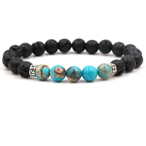 Sea Sediment Jasper and Lava Aromatherapy Essential Oil Diffuser Bracelet - Protection and Stability