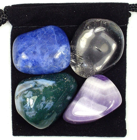 Immune Boost Tumbled Stone Crystal Healing Set with Velvet Pouch - Chevron Amethyst, Moss Agate, Clear Crystal Quartz and Sodalite