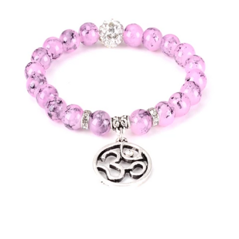 Infinite OHM Gemstone Yoga Bracelet - with Swarovski Elements Crystals - Gift Idea