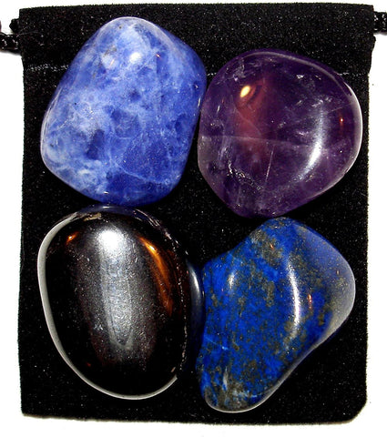 Insomnia Relief Tumbled Stone Crystal Healing Set with Velvet Pouch - Amethyst, Hematite, Lapis Lazuli and Sodalite