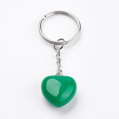 Jade Gemstone Crystal Puff Heart Key Chain - Luck, Harmony and Balance