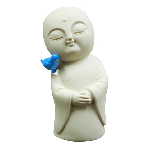 Blue Bird of Happiness on Jizo - Japanese - Divinity