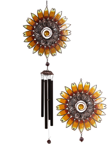 Sunflower Wind Chime - Metal Tubes - Feng Shui - Home Decor - 100 cm - Mother's Day Gift Idea