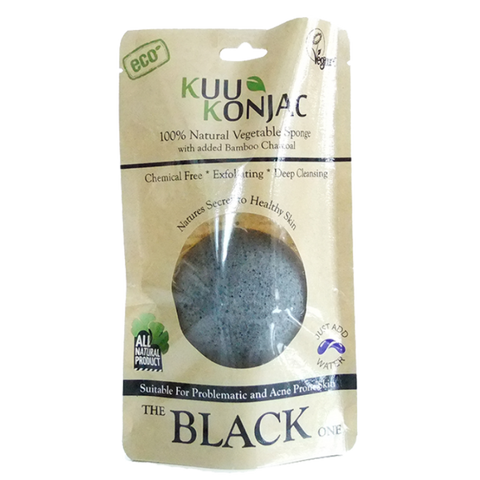 KUU Konjac Black Sponge - for Dry, Acne prone and Problematic Skin.