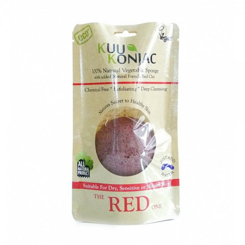 KUU Konjac Red Clay Sponge - for Dry, Sensitive or Mature Skin