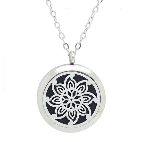 Kaleidoscope Design Essential Oil Diffuser Necklace Silver - Free Chain