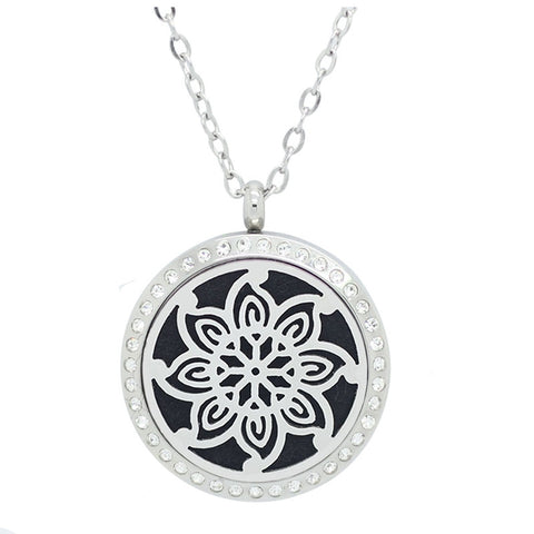 Kaleidoscope Flower Diffuser Necklace Silver with Crystals - Free Chain