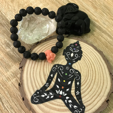 Kid's Little Elephant and Lava Stone Aromatherapy Diffuser Bracelet - Handcrafted