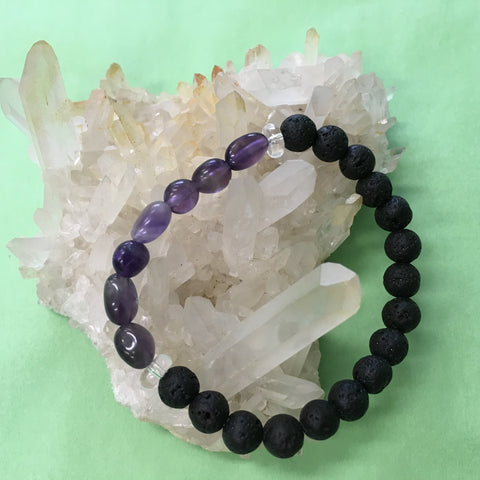 Child's Little Tumbled Amethyst, Clear Crystal Quartz and Lava Stone Aromatherapy Diffuser Bracelet - Handcrafted
