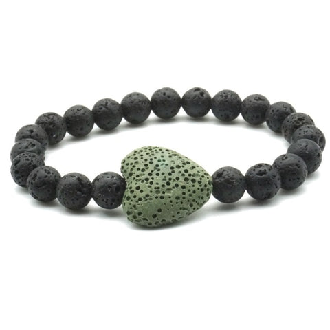 Large Lava HEART and Lava Stone Healing Aromatherapy Essential Oil Diffuser Bracelet - Valentine's Day Gift Idea