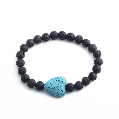 Large Lava HEART and Lava Stone Aromatherapy Essential Oil Diffuser Bracelet - Gift Idea