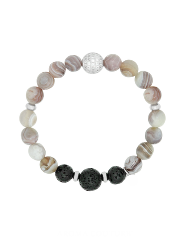 Botswana Agate Crystal, Gemstone and Lava Aroma Essential Oil Diffuser Bracelet - Gift idea