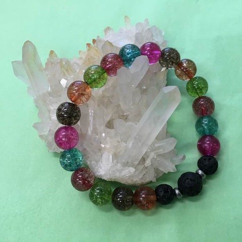Ladies Crackle Quartz and Lava Stone Aroma Diffuser Bracelet - Spirituality