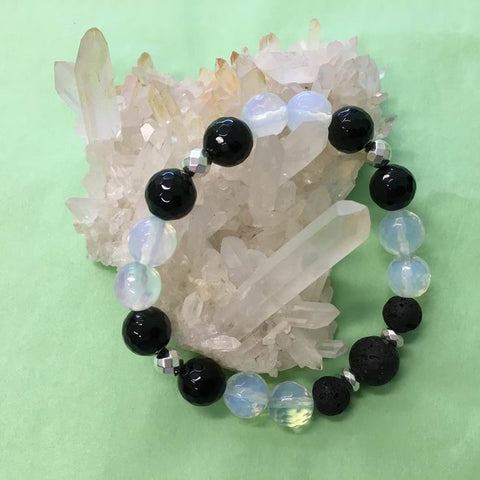 Ladies Faceted Black Onyx, Opalite and Lava Stone Aroma Diffuser Bracelet - luck, protection and grounding