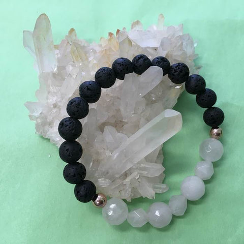 Ladies Geometric Rose Quartz and Lava Stone Aroma Diffuser Bracelet - love, healing and protection