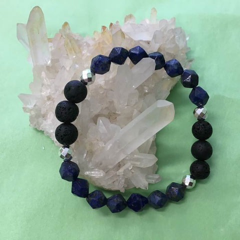 Ladies Geometric Lapis Lazuli, Hematite and Lava Stone Aroma Diffuser Bracelet - Communication, Intuition and Inner Power