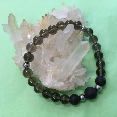 Ladies Smokey Quartz and Lava Stone Aroma Diffuser Bracelet - the stone of endurance