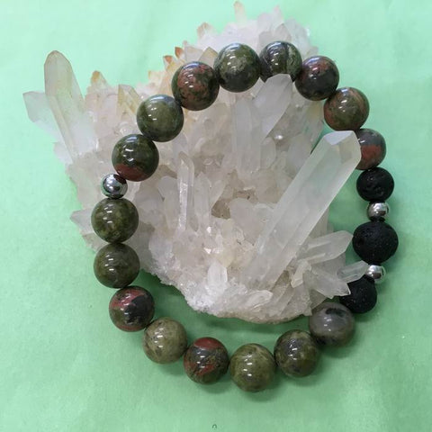 Unakite and Lava Stone Aromatherapy Diffuser Bracelet - the stone of couples