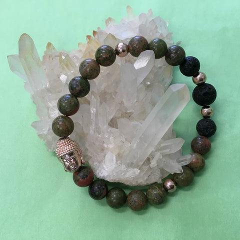 Ladies Unakite, Buddha and Lava Stone Aroma Diffuser Bracelet - the stone of couples