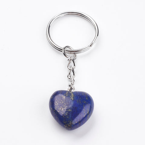 Lapis Lazuli Crystal Gemstone Puff Heart Key Chain - Stress, Communication, Intuition and Inner Power - Crystal Healing
