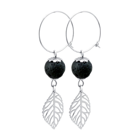 Aromatherapy Lava Stone Drop Earrings embellished with Feather Charm