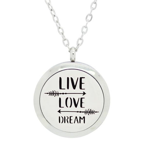Live, Love and Dream Design Aromatherapy Essential Oil Diffuser Necklace - Silver 25mm - Free Chain