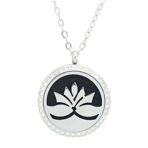 Lotus Flower Design Aromatherapy Essential Oil Diffuser Necklace with Crystals - Silver 30mm - Free Chain - Gift Idea