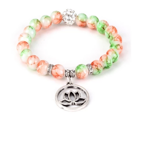 Lotus Healing Gemstone Yoga Bracelet - with Swarovski Elements Crystals - Gift Idea