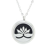 Lotus Flower Design Aromatherapy Essential Oil Diffuser Necklace Silver - Free Chain - Gift Idea
