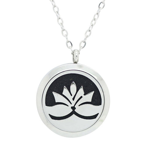 Lotus Flower Diffuser Necklace Silver - Free Chain