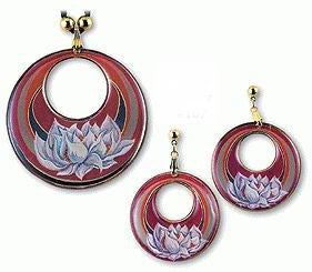 Lotus Flower Pendant and Earrings